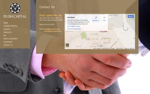 Screenshot of Contact Page plushcapital.com - Plush Capital - captured Oct. 1, 2014