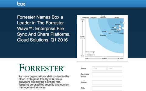 """Screenshot of Landing Page box.com - Forrester Names Box a Leader in The Forrester Waveâ""""¢: Enterprise File Sync And Share Platforms, Cloud Solutions, Q1 2016 - captured June 27, 2016"""