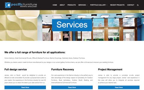 Screenshot of Services Page pacificfurnituredesign.com.au - Services | Pacific Furniture Design & Upholstery - captured Oct. 1, 2014