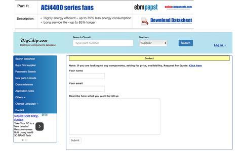 Screenshot of Contact Page digchip.com - Contact - captured Sept. 19, 2016