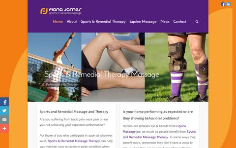 Screenshot of Home Page fionajames.co.uk - Sports Massage Remedial Therapy and Equine Massage - Sports, Remedial and Massage - captured Oct. 4, 2014