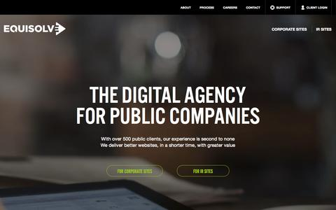 Screenshot of Home Page equisolve.com - Equisolve - captured Oct. 1, 2015