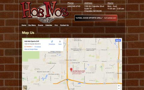 Screenshot of Maps & Directions Page hobnobsports.com - Map - Hob Nob Sports Grill of Chandler AZ - captured Oct. 2, 2014