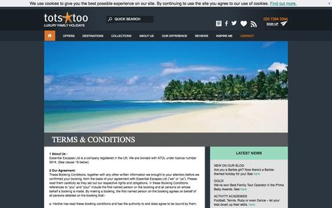 Screenshot of Terms Page totstoo.com - TERMS & CONDITIONS | Tots Too - captured Sept. 19, 2014