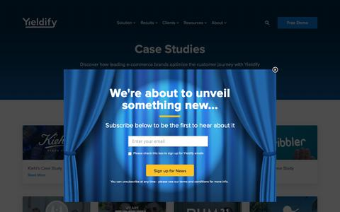 Screenshot of Case Studies Page yieldify.com - Case Studies - Yieldify | Customer Journey Tools - captured March 5, 2019