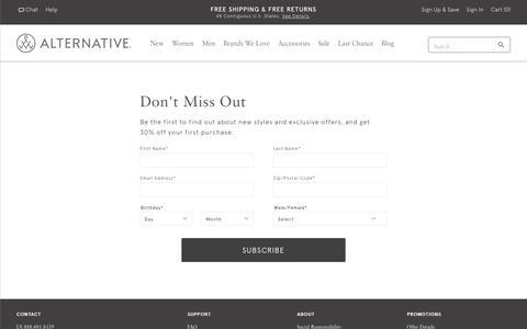 Screenshot of Signup Page alternativeapparel.com - Email Sign Up   Alternative Apparel - captured Aug. 14, 2017