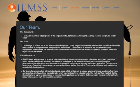 Screenshot of Team Page iemss.ca - International Safety Solutions | Our Team - captured Nov. 26, 2016