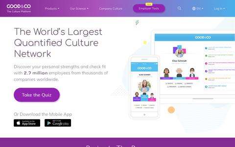 Screenshot of Home Page good.co - Good&Co: A New Workplace Platform for the modern era! - captured May 26, 2018