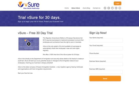 Screenshot of Trial Page vsure.com.au - 30 Day Free Trial - Trial the vSure system for your business - captured Oct. 26, 2014