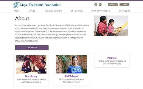 Screenshot of About Page mayatraditions.org - About - Maya Traditions - captured Jan. 18, 2018