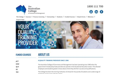 Screenshot of About Page austcollege.edu.au - Registered Training Organisation | The Australian College - captured Feb. 6, 2016