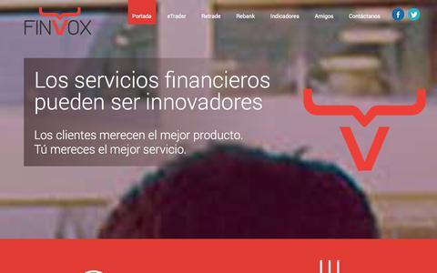Screenshot of Home Page finvox.com - Finvox   Innovación Financiera - captured Sept. 30, 2014