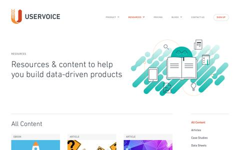 Screenshot of Case Studies Page uservoice.com - Resources Library | UserVoice - captured Aug. 23, 2016