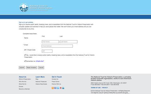 Screenshot of Signup Page preservationnation.org - Survey - Sign up to get updates - National Trust for Historic Preservation - captured Oct. 26, 2014
