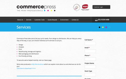 Screenshot of Services Page commercepress.com.au - Services | Commerce Press Commerce Press - captured July 20, 2018