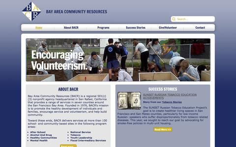 Screenshot of Home Page bacr.org - Home - captured Jan. 26, 2015