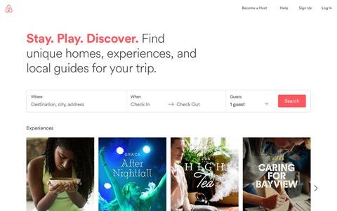Screenshot of Home Page airbnb.com - Vacation Rentals, Homes, Experiences & Places - Airbnb - captured Feb. 2, 2017