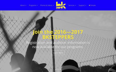 Screenshot of Home Page bksteppers.org - Home • BKSteppers Marching Arts - captured Dec. 3, 2016