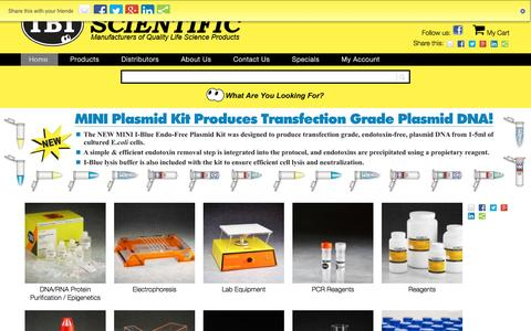 Screenshot of Home Page ibisci.com - IBI Scientific – Manufacturer of Life Science Research Products - captured June 11, 2016