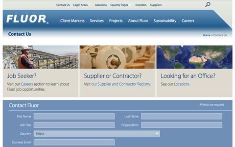 Screenshot of Contact Page fluor.com - Contact Us - Fluor.com - captured July 25, 2018