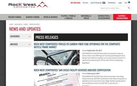 Screenshot of Press Page rockwestcomposites.com - Press Releases / Rock West Composites - captured Nov. 1, 2017
