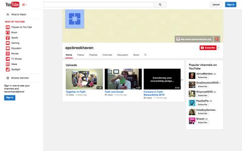 Screenshot of YouTube Page youtube.com - opcbrookhaven  - YouTube - captured Oct. 26, 2014