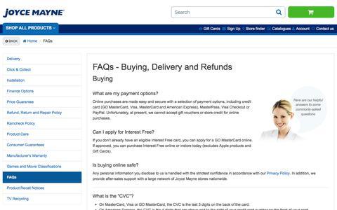 Screenshot of FAQ Page joycemayne.com.au - FAQs   Joyce Mayne Australia - captured Sept. 20, 2018