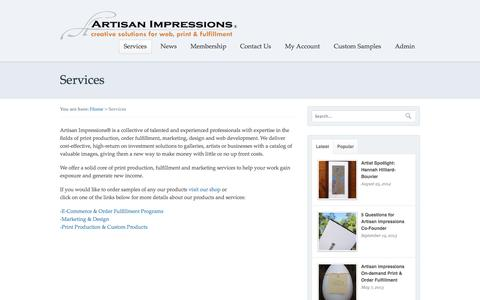 Screenshot of Services Page artisanimpressions.com - Print Production|Giclee|Marketing|Design|Fulfillment|Cape Cod, MA - captured Sept. 30, 2014