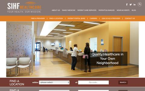 Screenshot of Home Page sihf.org - SIHF Healthcare - captured Oct. 23, 2017