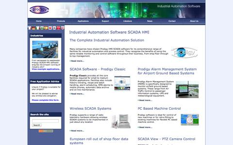 Screenshot of Home Page Menu Page tascomp.com - SCADA Software | HMI Software | Industrial Automation Software | Prodigy - captured Sept. 30, 2014