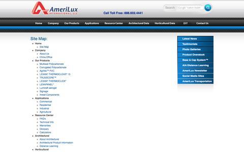 Screenshot of Site Map Page ameriluxinternational.com - AmeriLux Site Map - captured Feb. 6, 2016