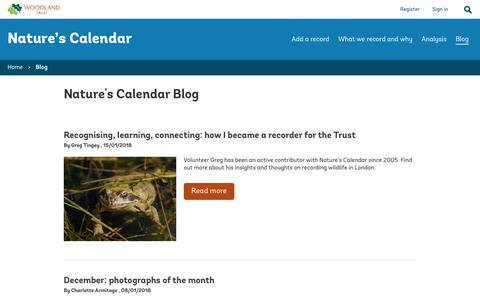 Screenshot of Blog woodlandtrust.org.uk - Blog - Nature's Calendar - captured Jan. 27, 2018