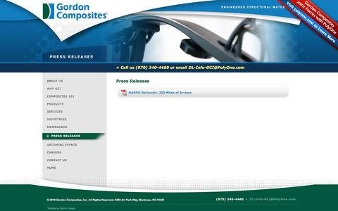 Screenshot of Press Page gordoncomposites.com - Thermoset Composite Engineered Structural Materials: Press Releases - captured July 22, 2018