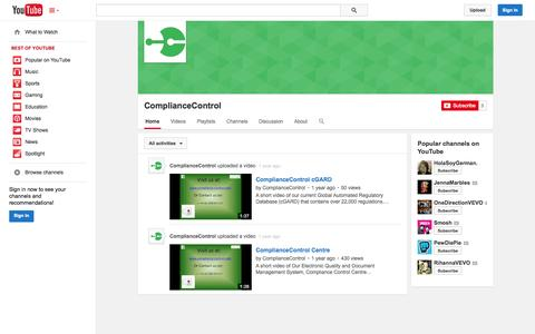 Screenshot of YouTube Page youtube.com - ComplianceControl  - YouTube - captured Oct. 22, 2014