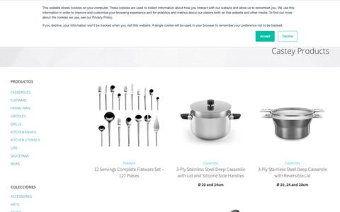 Screenshot of Products Page castey.com - Castey Cookware Catalogue. Pots, Pans and Kitchen Utensils - Castey - captured Nov. 29, 2018