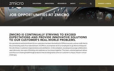 Screenshot of Jobs Page zmicro.com - Careers | ZMicro, Inc. - captured Oct. 19, 2018