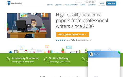 Screenshot of Home Page custom-writing.org - Custom Writing Service | Sale Now On: -15% Off | FREE Quality Check! - captured July 19, 2019