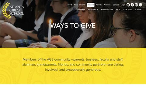 Screenshot of Support Page atlantagirlsschool.org - Support - Atlanta Girls' School - captured May 31, 2017