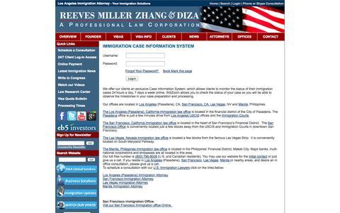 Screenshot of Login Page rreeves.com - San Francisco Immigration Attorney - San Francisco Immigration Lawyer - Immigration Case Information System - captured Oct. 26, 2014