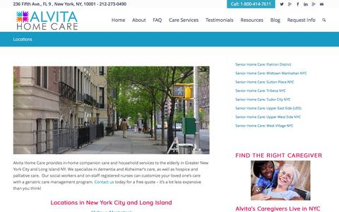 Screenshot of Locations Page alvitacare.com - Locations In New York City and Long Island | AlvitaCare NYC - captured May 29, 2017