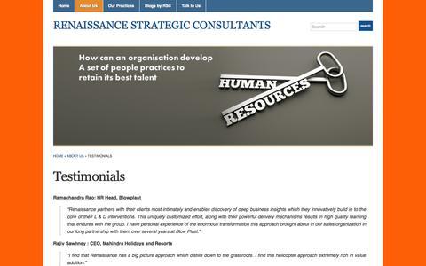 Screenshot of Testimonials Page wordpress.com - Testimonials « Renaissance Strategic Consultants - captured Nov. 5, 2014