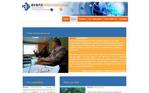Screenshot of About Page avanzinternational.com - About - ... - captured Oct. 4, 2014