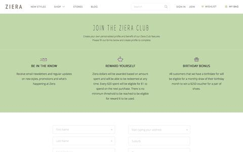 Screenshot of Signup Page zierashoes.com - Create New Customer Account - captured Dec. 17, 2016