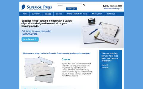 Screenshot of Products Page superiorpress.com - Banking Products | Superior Press - captured June 19, 2017