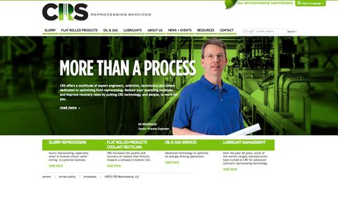 Screenshot of Home Page crs-reprocessing.com - Fluid Reprocessing | On-Site Management | CRS Reprocessing - captured Jan. 14, 2015