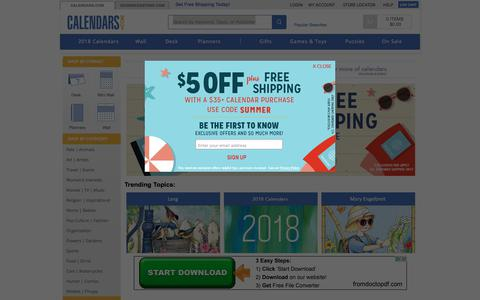 Screenshot of Home Page calendars.com - 2018 Calendars: Wall, Desk, Planners | Shop Calendars | Calendars.com - captured July 11, 2017