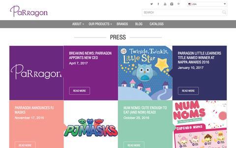 Screenshot of Press Page parragon.com - Press Archive - Parragon US - captured May 14, 2017