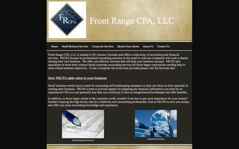 Screenshot of Home Page frontrangecpas.com - Professional accounting services, Front Range CPA, LLC Home - captured Oct. 6, 2014