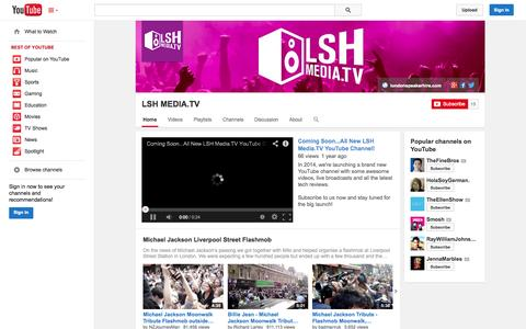 Screenshot of YouTube Page youtube.com - LSH MEDIA.TV  - YouTube - captured Oct. 22, 2014