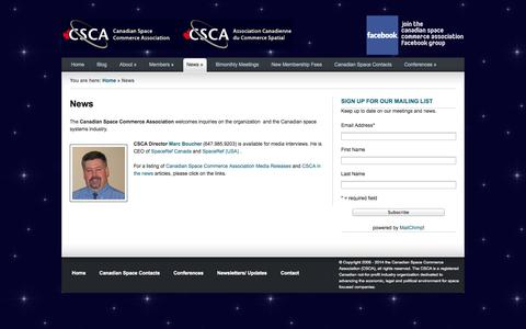 Screenshot of Press Page spacecommerce.ca - Canadian Space Commerce Association – An Industry Group to Promote and Support Canadian Businesses |   News - captured Oct. 1, 2014